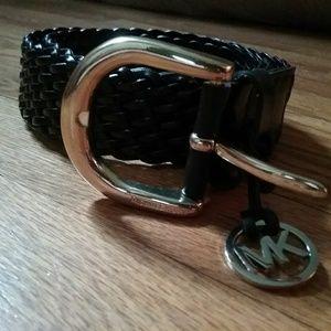 Michael Michael Kors black braided leather belt